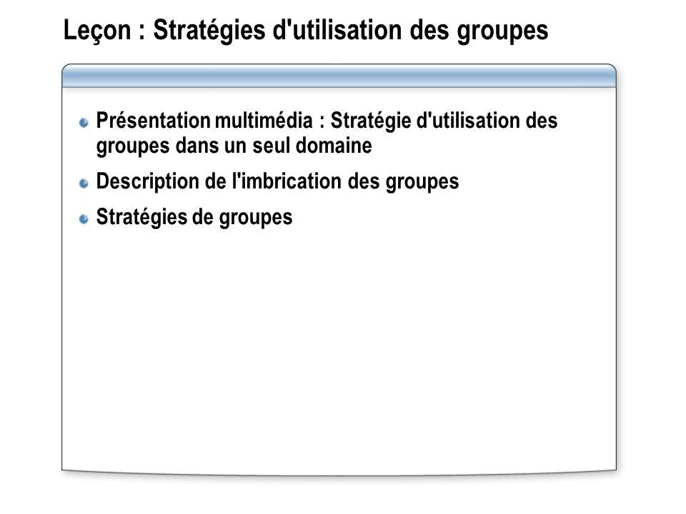 Leçon : Stratégies d utilisation des groupes