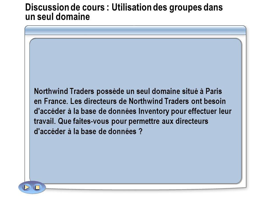 Discussion de cours : Utilisation des groupes dans un seul domaine