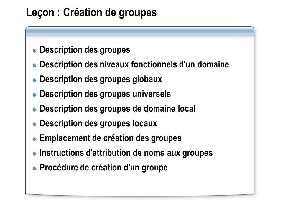Leçon : Création de groupes