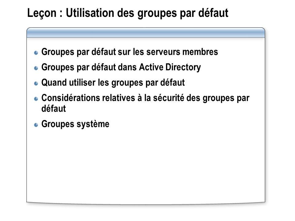 Leçon : Utilisation des groupes par défaut