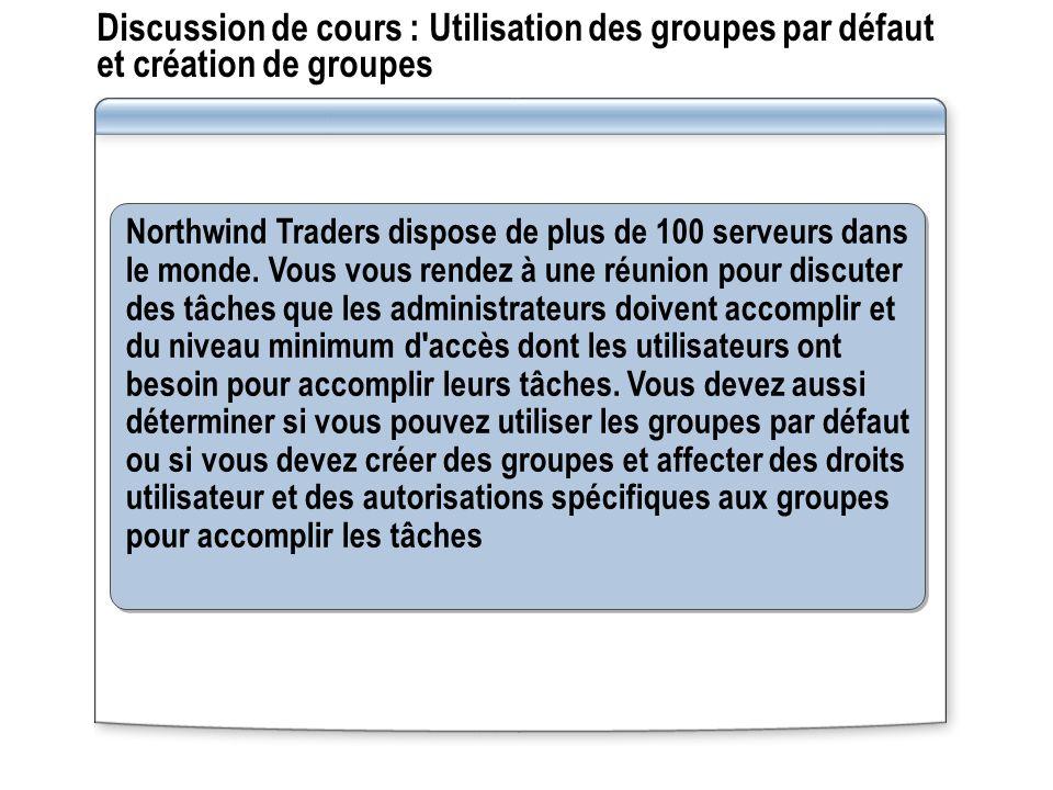 Discussion de cours : Utilisation des groupes par défaut et création de groupes