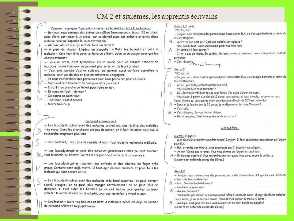 CM 2 et sixièmes, les apprentis écrivains