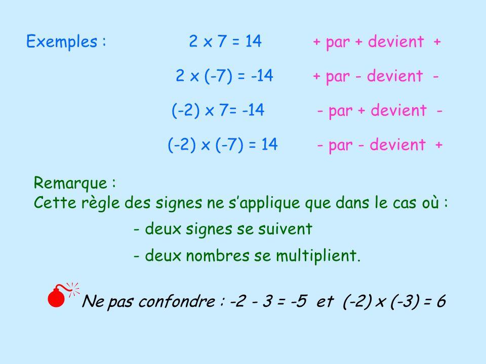 Exemples : 2 x 7 = 14 + par + devient + 2 x (-7) = -14. + par - devient - (-2) x 7= -14.