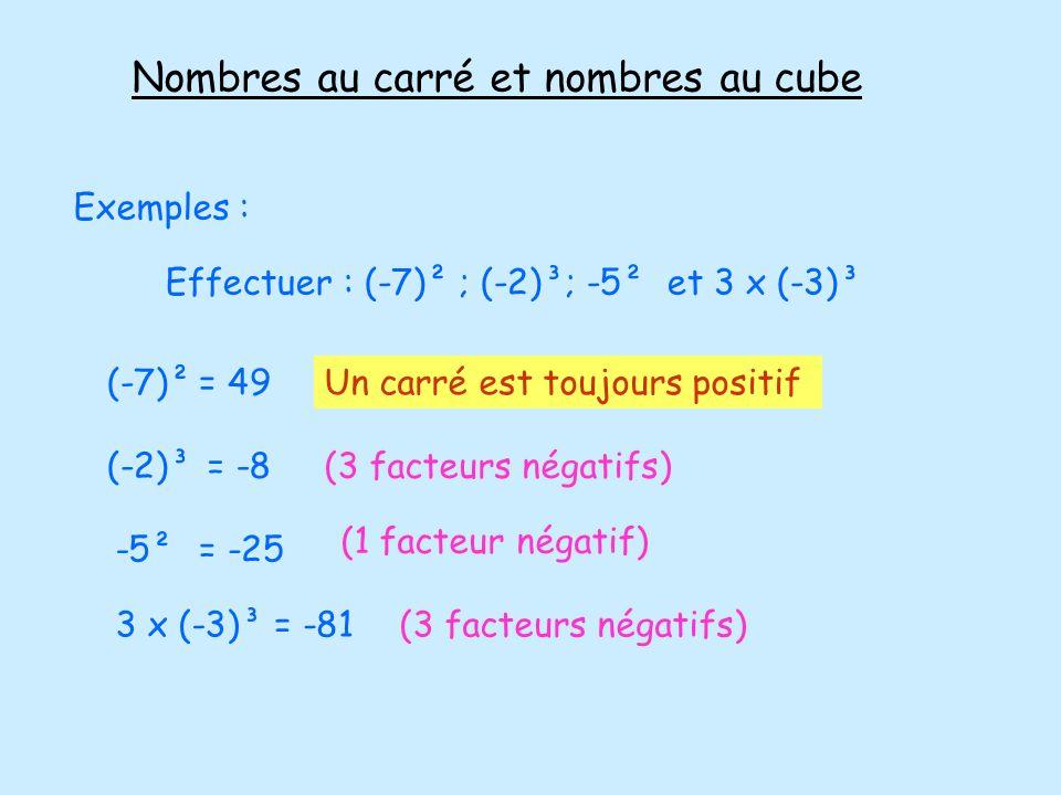 Nombres au carré et nombres au cube