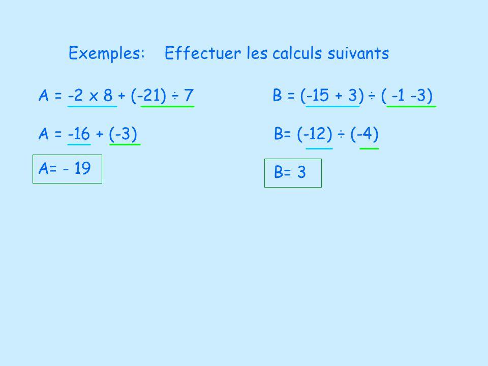 Exemples:Effectuer les calculs suivants. A = -2 x 8 + (-21) ÷ 7. B = (-15 + 3) ÷ ( -1 -3) A = -16 + (-3)