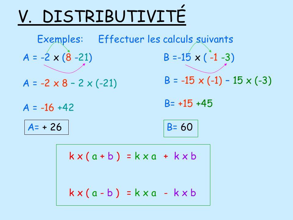 V. DISTRIBUTIVITÉ Exemples: Effectuer les calculs suivants
