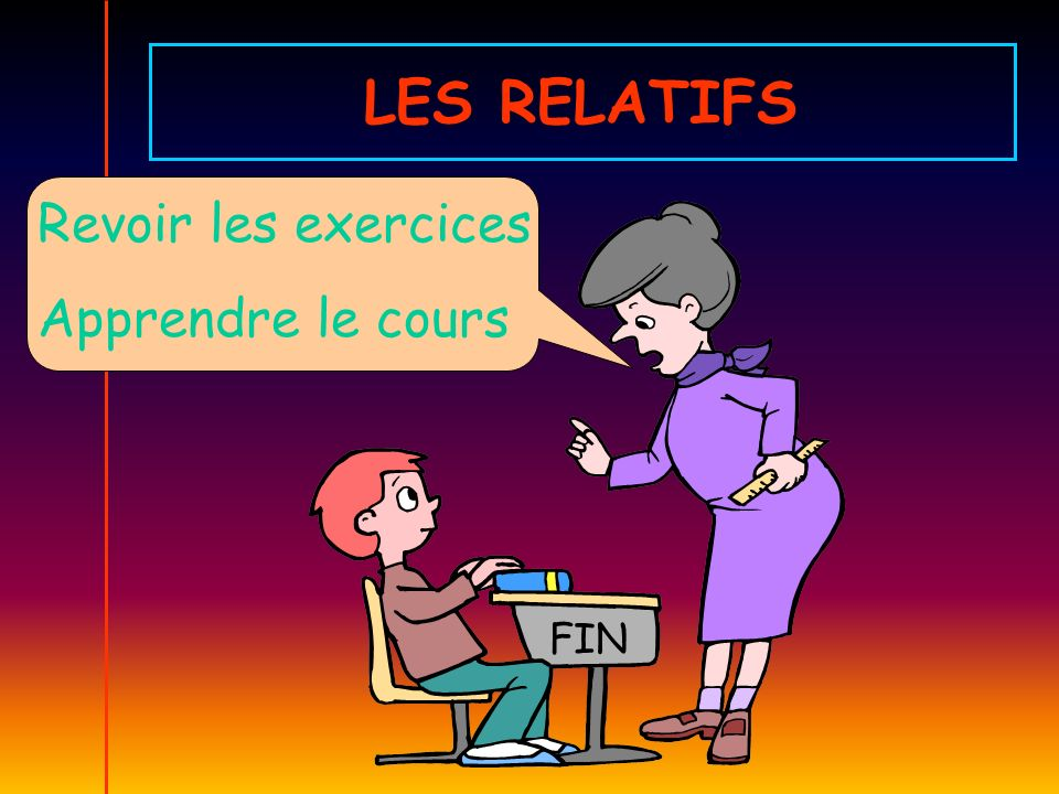 LES RELATIFS Revoir les exercices Apprendre le cours FIN