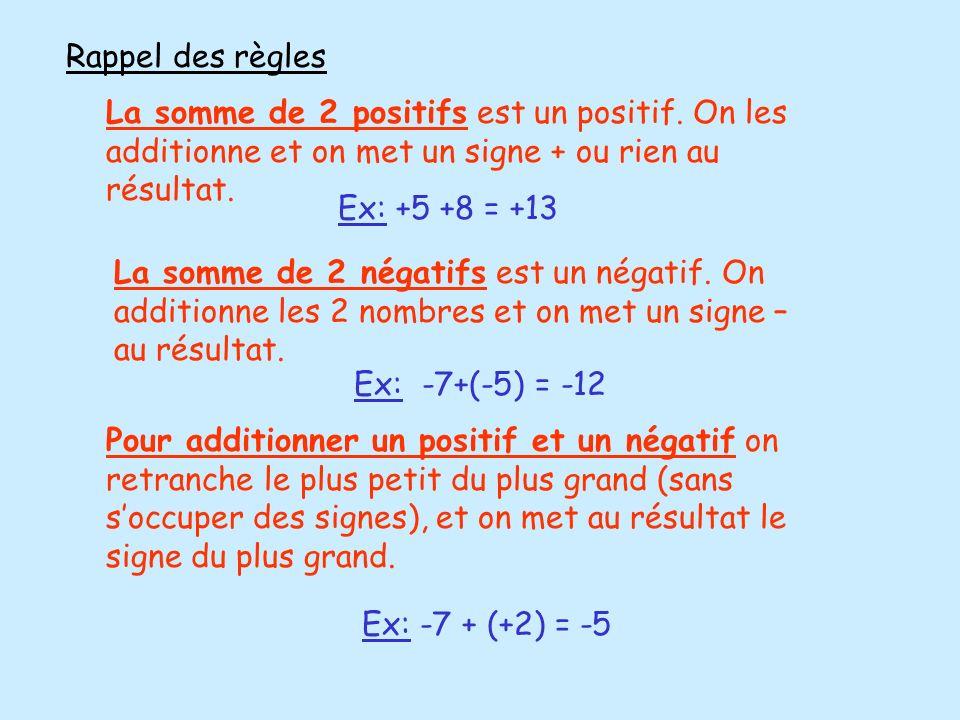 Rappel des règles La somme de 2 positifs est un positif. On les additionne et on met un signe + ou rien au résultat.