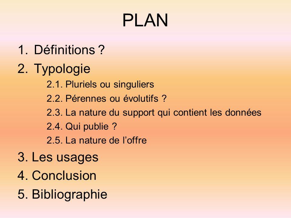 PLAN Définitions Typologie 3. Les usages 4. Conclusion