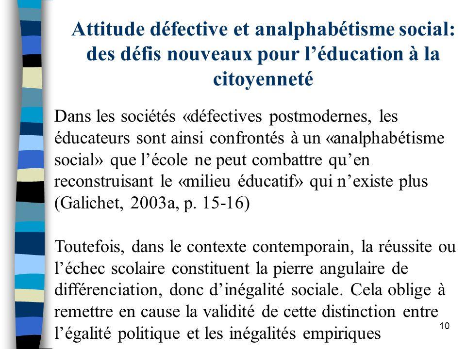 Attitude défective et analphabétisme social: des défis nouveaux pour l'éducation à la citoyenneté