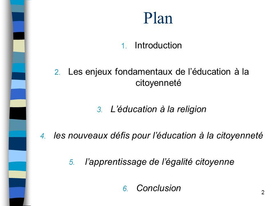 Plan Introduction. Les enjeux fondamentaux de l'éducation à la citoyenneté. L'éducation à la religion.