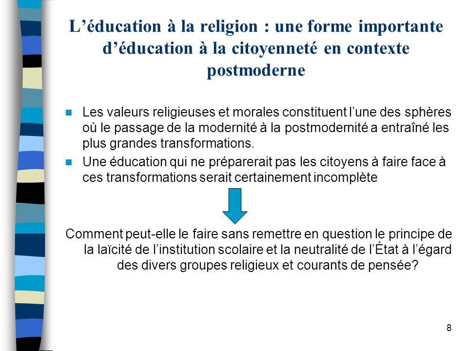 L'éducation à la religion : une forme importante d'éducation à la citoyenneté en contexte postmoderne