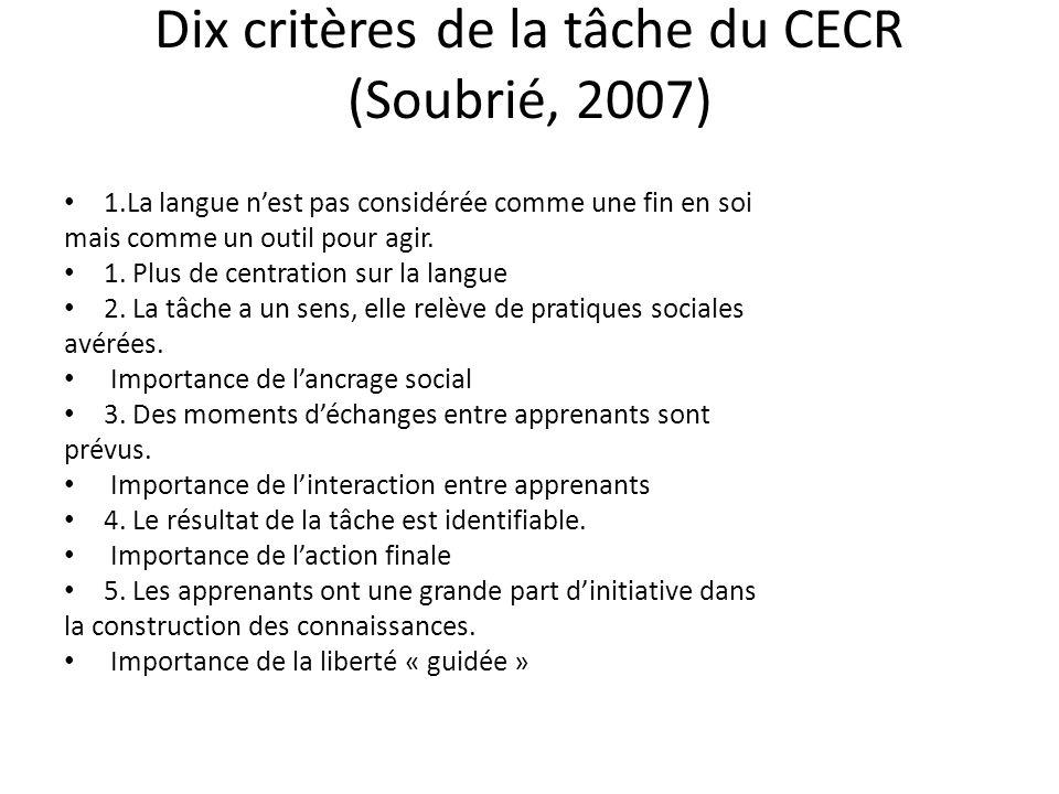Dix critères de la tâche du CECR (Soubrié, 2007)