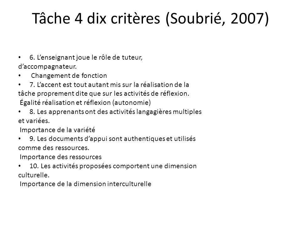 Tâche 4 dix critères (Soubrié, 2007)