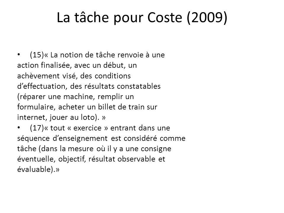La tâche pour Coste (2009) (15)« La notion de tâche renvoie à une