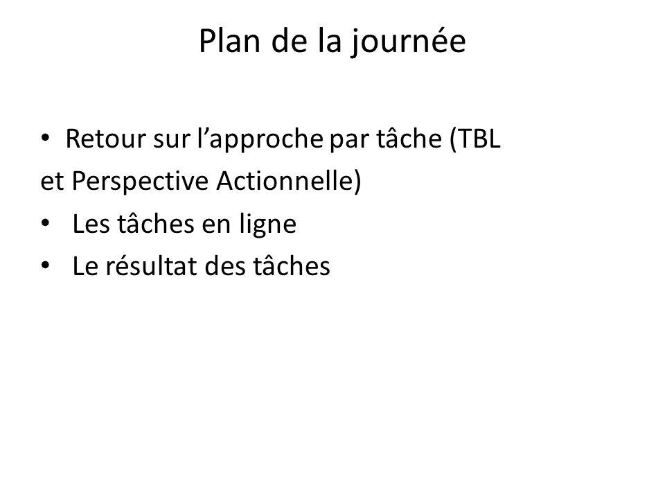 Plan de la journée Retour sur l'approche par tâche (TBL