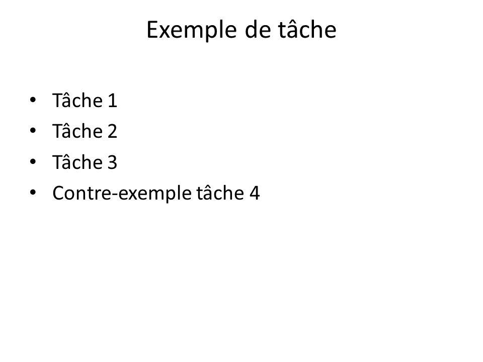 Exemple de tâche Tâche 1 Tâche 2 Tâche 3 Contre-exemple tâche 4