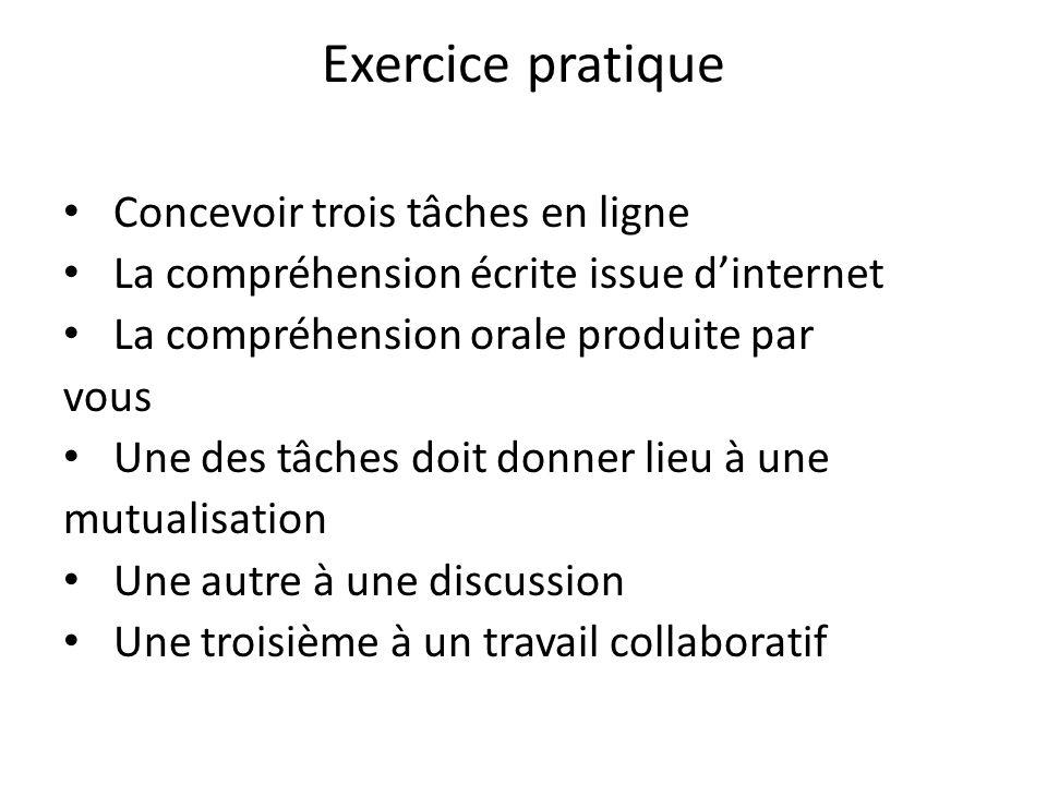 Exercice pratique Concevoir trois tâches en ligne