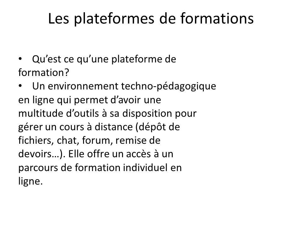 Les plateformes de formations