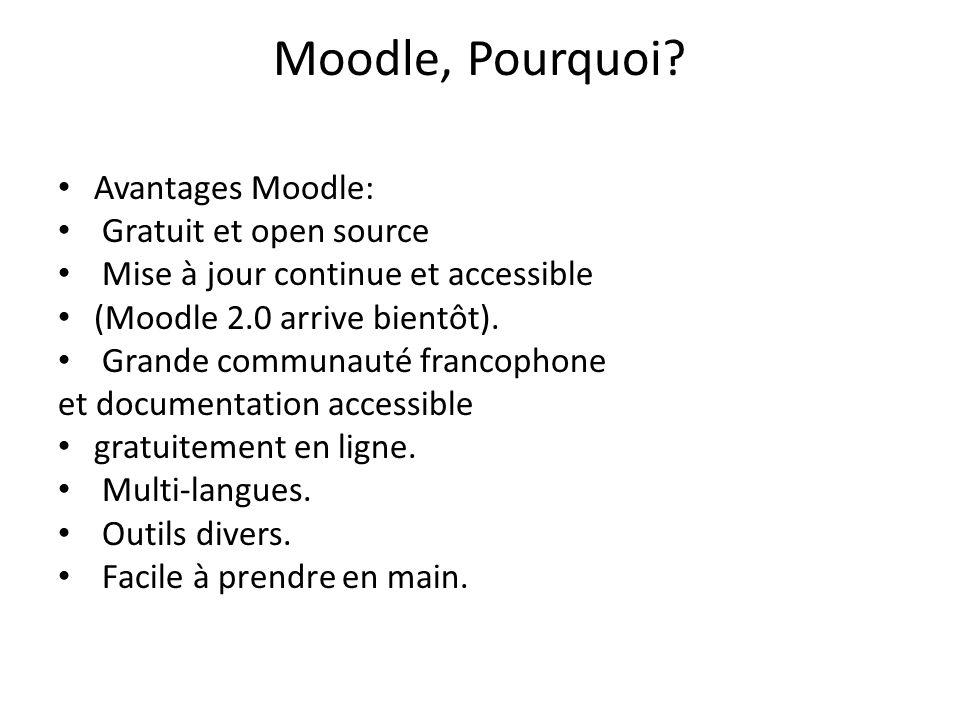 Moodle, Pourquoi Avantages Moodle: Gratuit et open source
