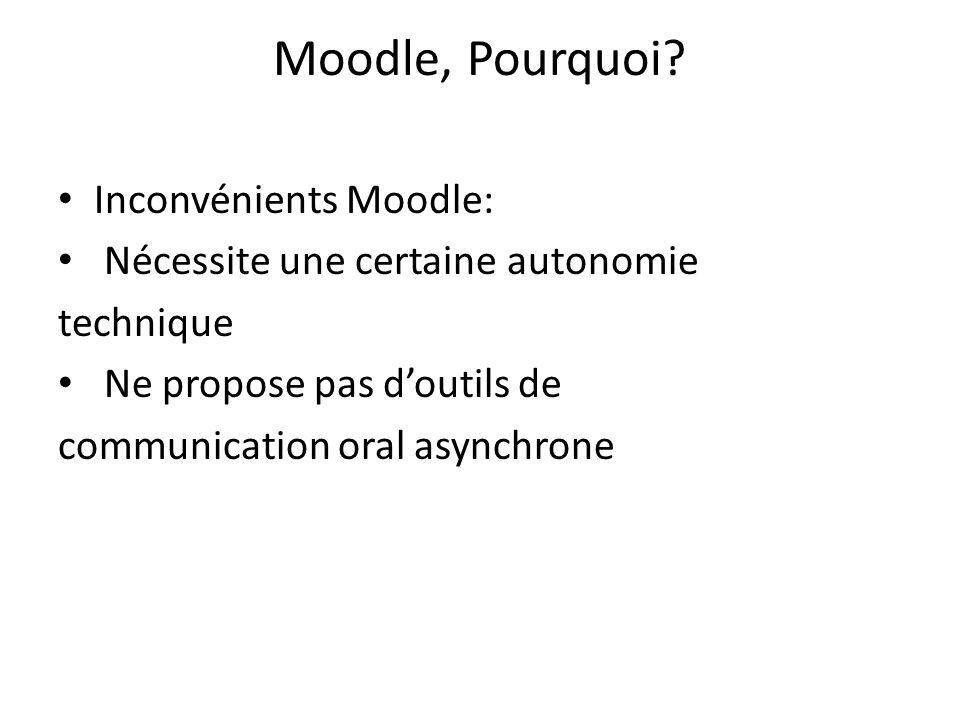 Moodle, Pourquoi Inconvénients Moodle: