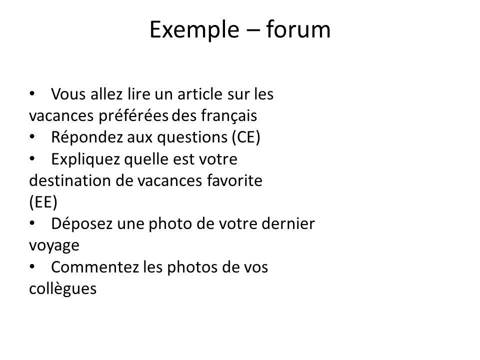 Exemple – forum Vous allez lire un article sur les