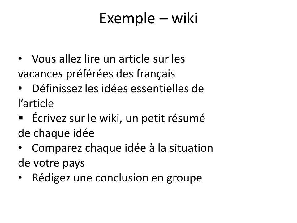 Exemple – wiki Vous allez lire un article sur les