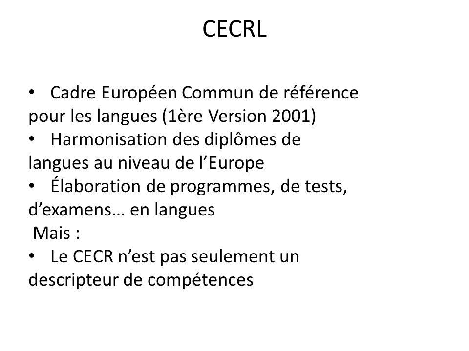 CECRL Cadre Européen Commun de référence