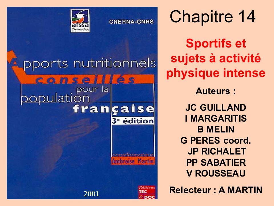 Sportifs et sujets à activité physique intense