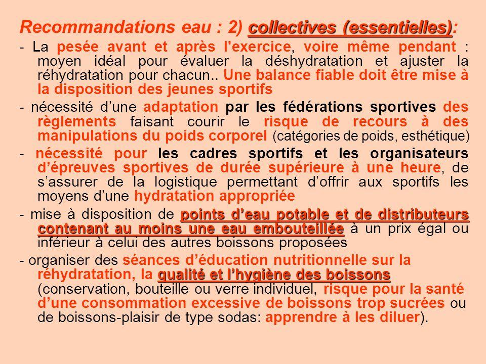 Recommandations eau : 2) collectives (essentielles):