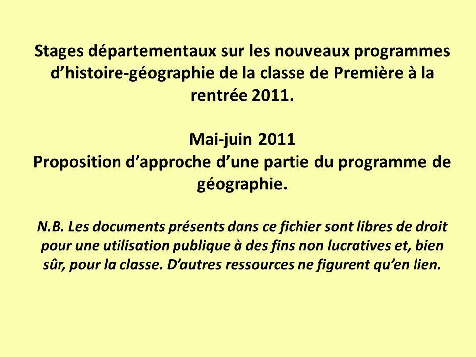 Stages départementaux sur les nouveaux programmes d'histoire-géographie de la classe de Première à la rentrée 2011.