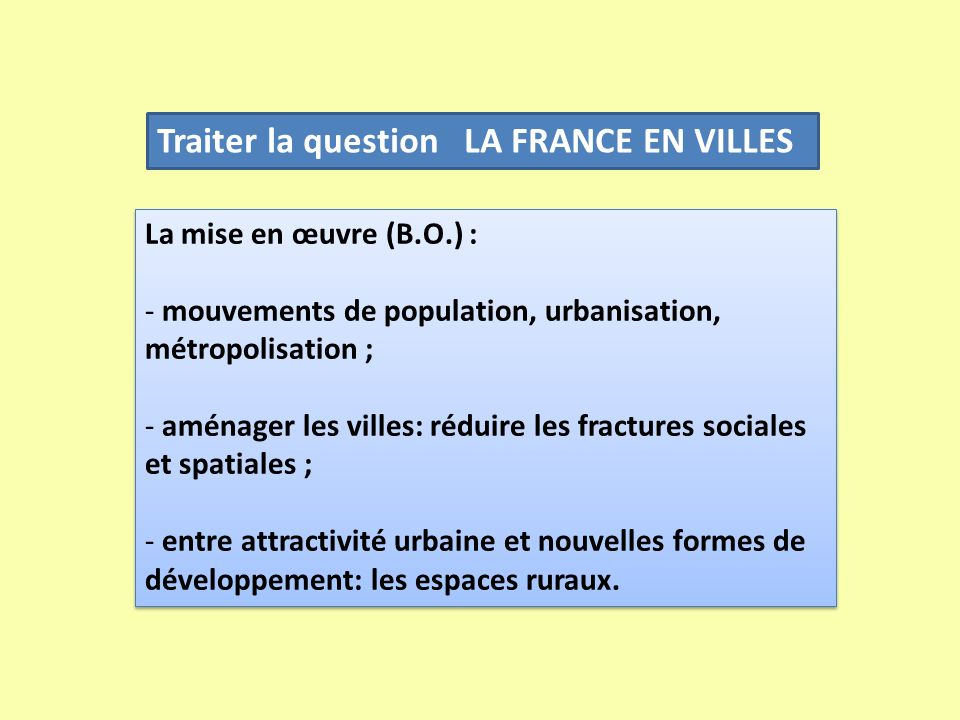 Traiter la question LA FRANCE EN VILLES