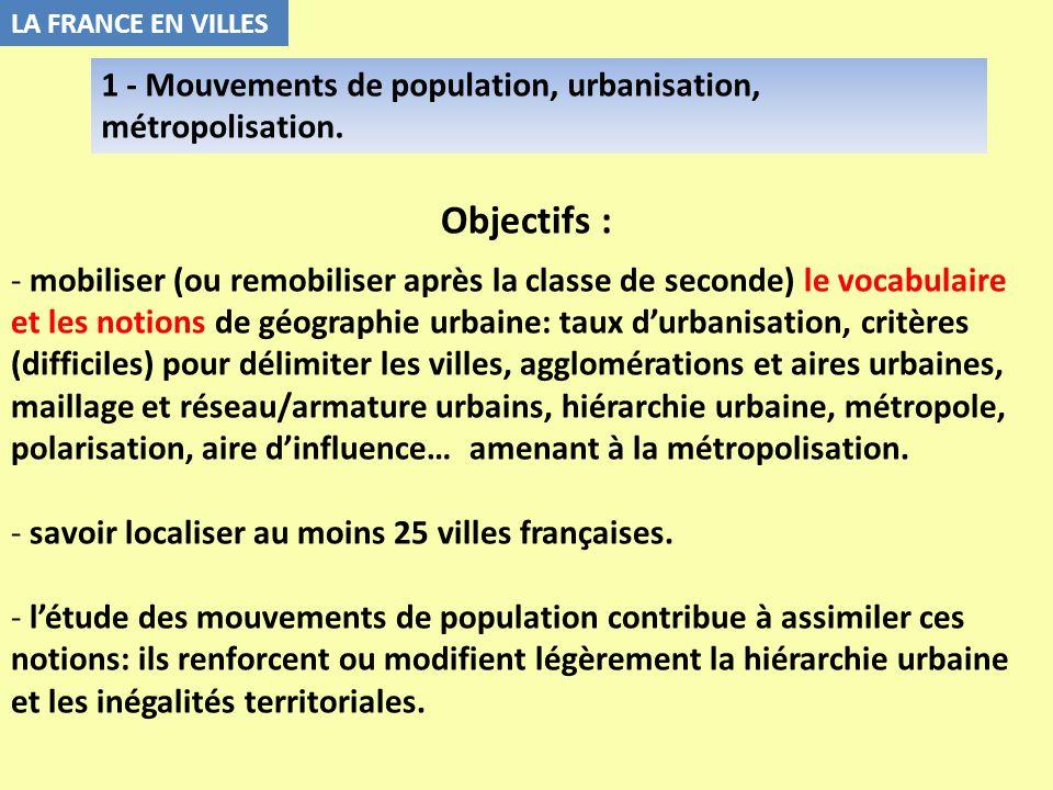 LA FRANCE EN VILLES1 - Mouvements de population, urbanisation, métropolisation. Objectifs :