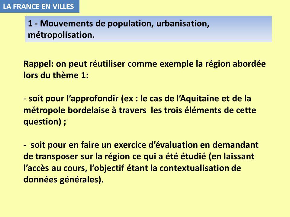 1 - Mouvements de population, urbanisation, métropolisation.