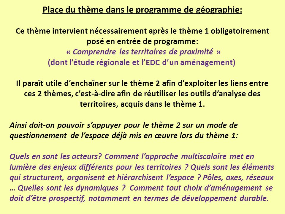 Place du thème dans le programme de géographie: