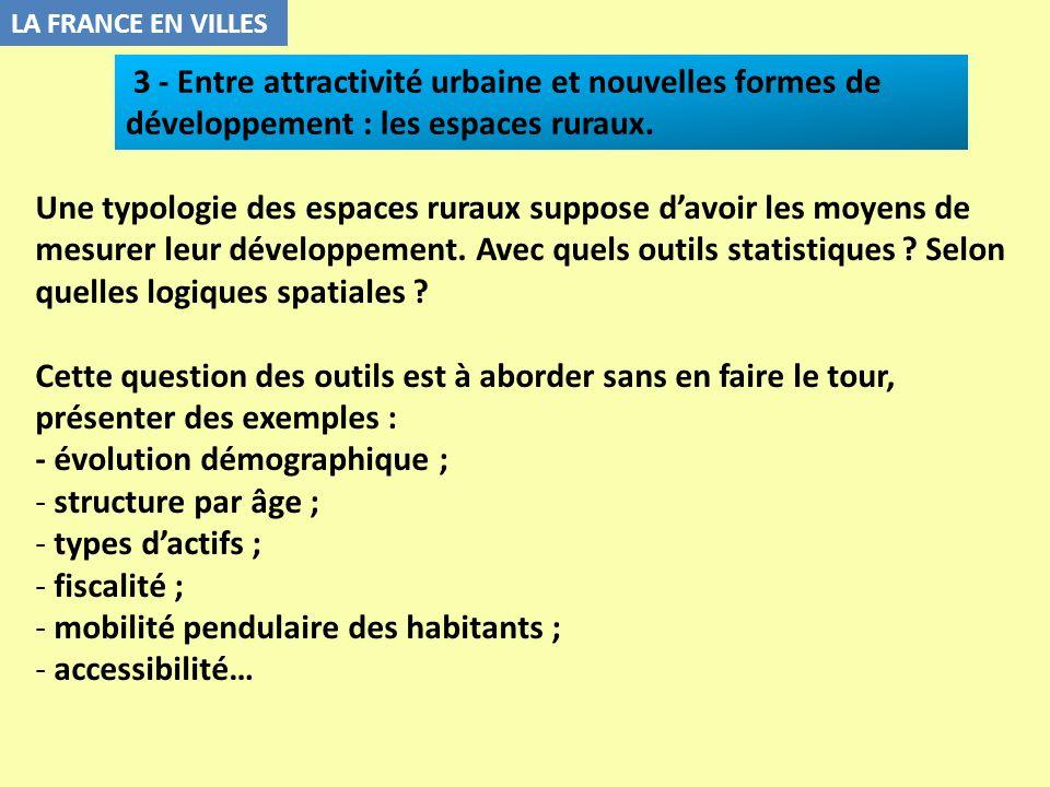 - évolution démographique ; structure par âge ; types d'actifs ;