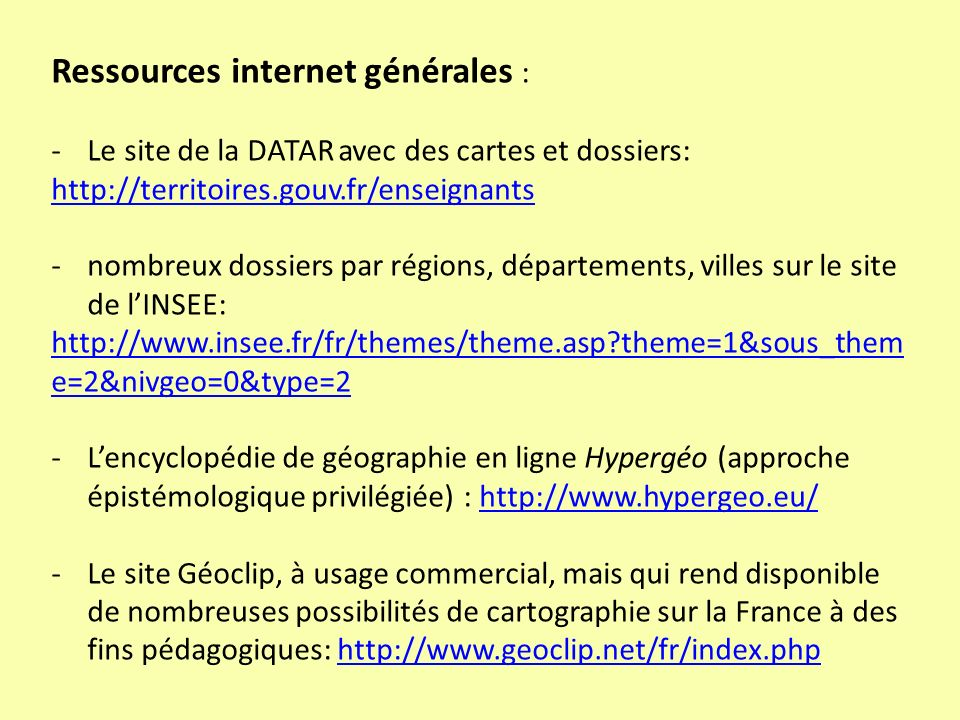Ressources internet générales :