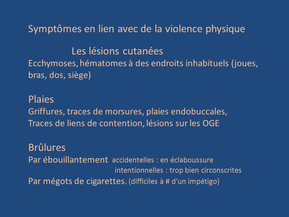 Symptômes en lien avec de la violence physique Les lésions cutanées