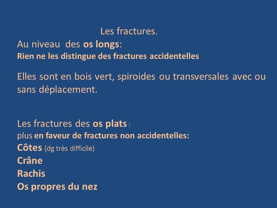 Les fractures des os plats : Côtes (dg très difficile) Crâne Rachis