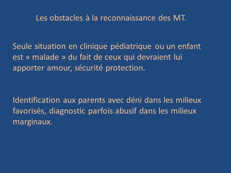 Les obstacles à la reconnaissance des MT.