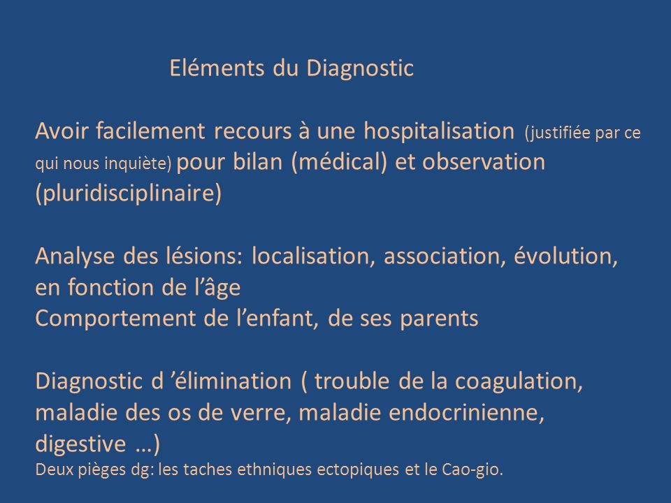 Eléments du Diagnostic
