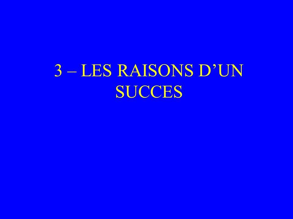 3 – LES RAISONS D'UN SUCCES