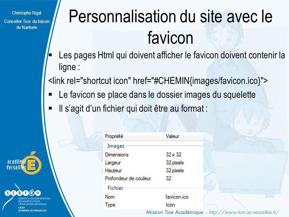 Personnalisation du site avec le favicon