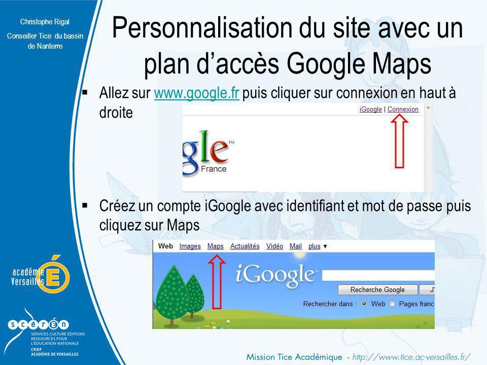 Personnalisation du site avec un plan d'accès Google Maps