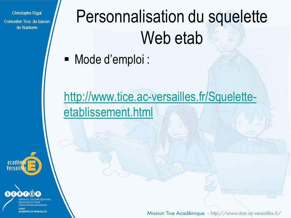 Personnalisation du squelette Web etab