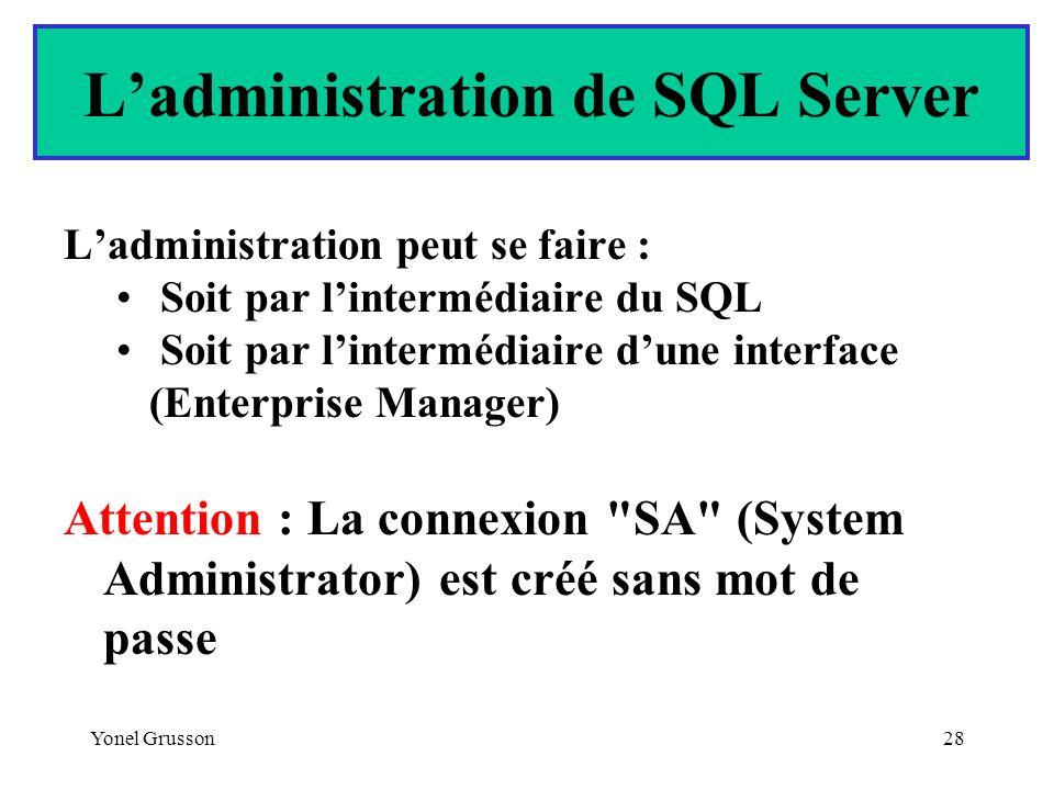 L'administration de SQL Server