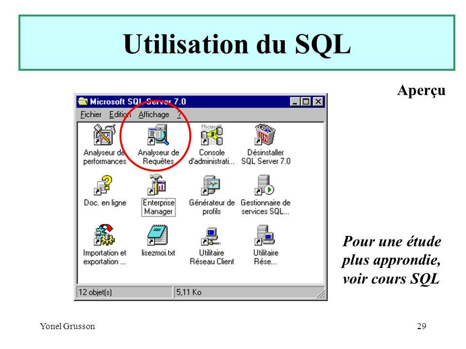 Utilisation du SQL Aperçu