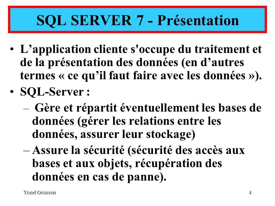 SQL SERVER 7 - Présentation