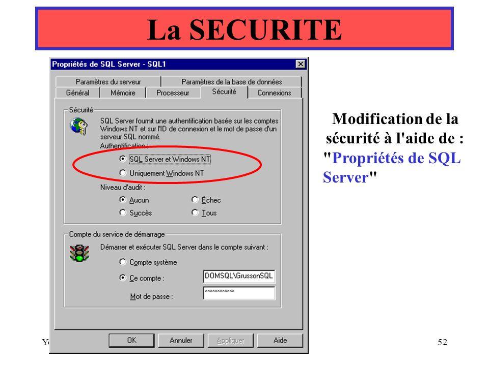 Modification de la sécurité à l aide de :