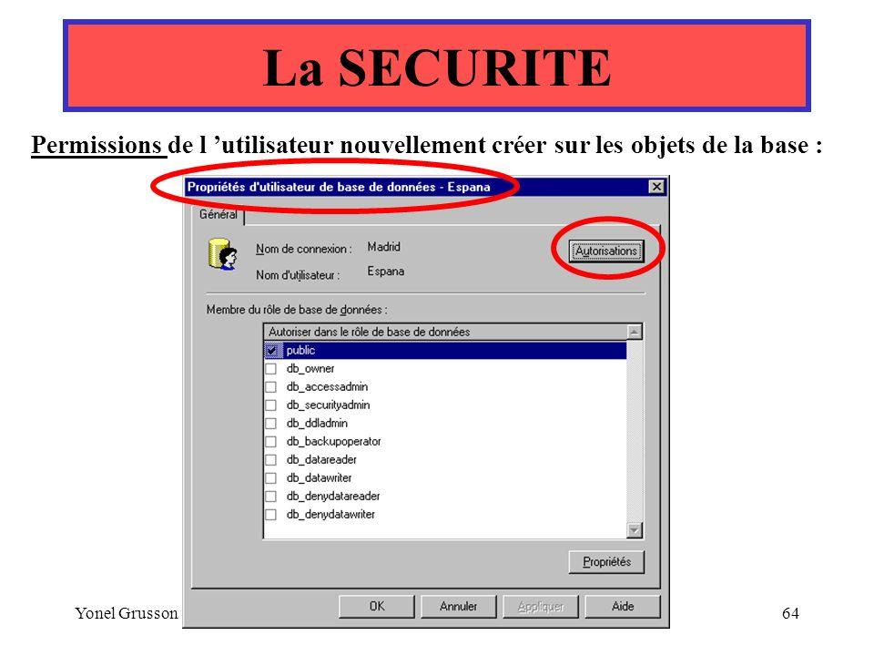 La SECURITE Permissions de l 'utilisateur nouvellement créer sur les objets de la base : Yonel Grusson.